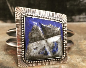 Large Sterling Silver Lapis Cuff