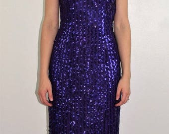 Vintage 80's Purple Sequin Pageant Formal Dress Gown Flirtation by Alfred Angelo