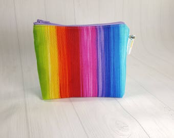 Zipper Notions Pouch, Prism Rainbow Stripes Mini Zippered Wedge Bag, Craft Pouch NP0043