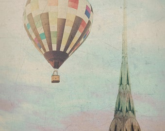 "New York City - 8x10 photograph - ""Balloon over the Chrysler"" - fine art print - vintage photography - Manhattan  - New York skyline"