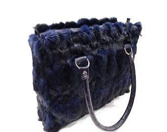 Woman blue fur handbag,Spesial mother's day gift F493