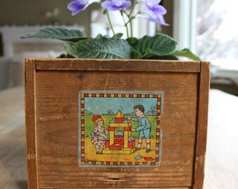 Antique European Toy Blocks, Box of Building Blocks, Vintage European Toy