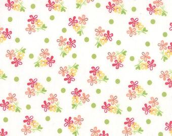 Pink Coral White Small Flower Prairie Fabric -  Moda - Corey Yoder - 29003 11