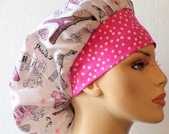 Paris Glittering Eiffel Tower Bouffant Surgical Scrub Hat Pink Polka Dot Headband- I Love Paris Scrub Hat #2 Scrub Caps/Surgical Scrub Hats