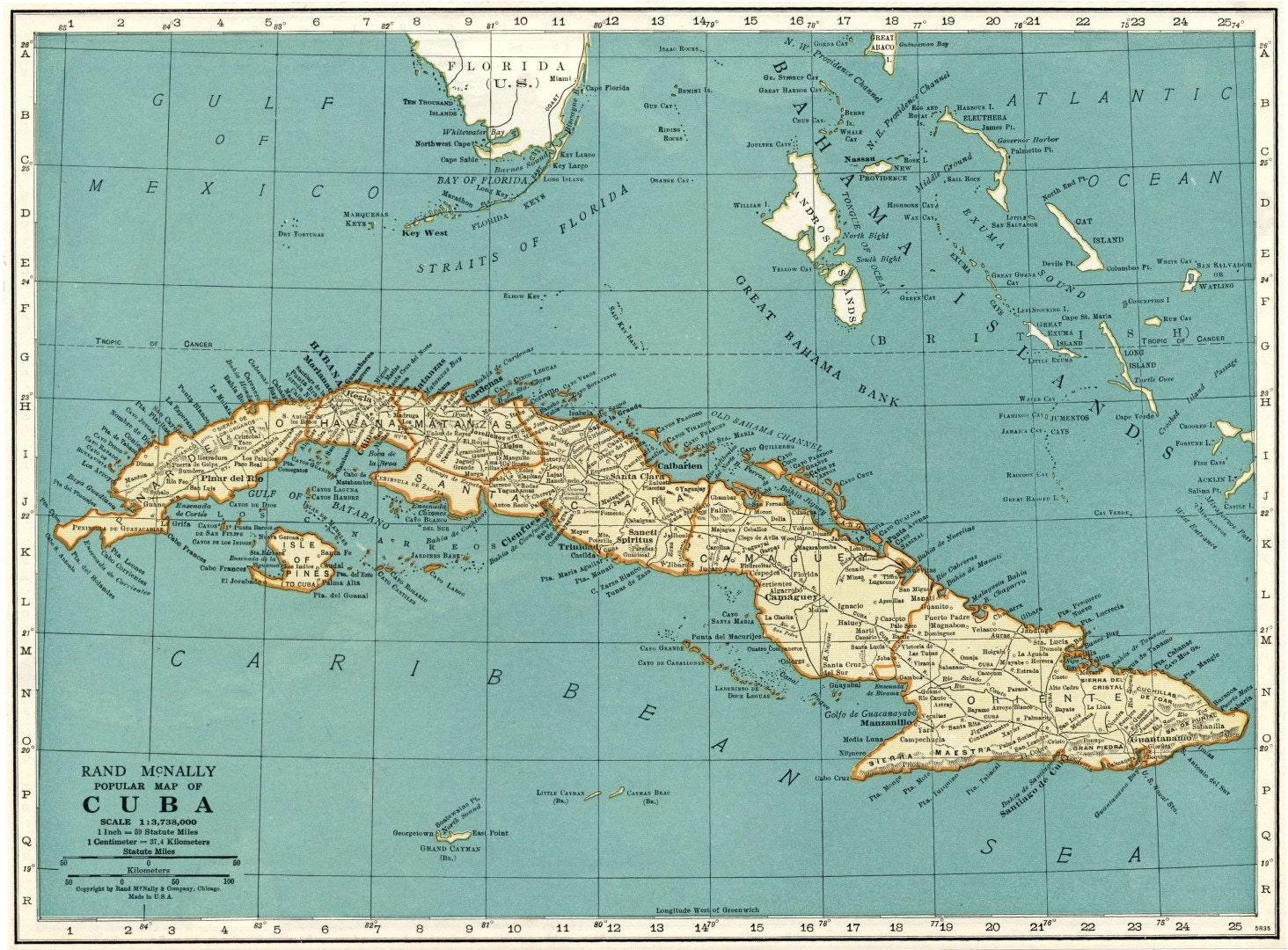 1937 Landkarte Cuba Kuba Landkarte Jahrgang Kuba Karte