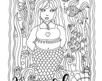 Mermaid Queen, 1 Adult Coloring Book Page, Printable Instant Download