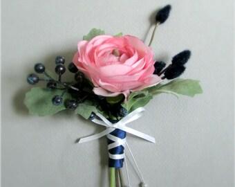 "Navy Blue and Pink Silk Flower Boutonniere with Ranunculus Flower, Dark Blue Berries, and Willow, Groom, Groomsmen, ""Ardent"""