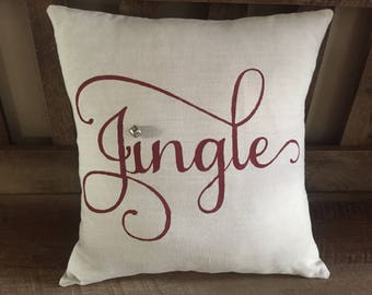 Jingle Decorative Pillow-Christmas-Jingle Bell-Winter-Hand Painted-Rustic Chic
