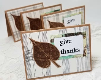 Autumn Leaf Note Cards - Give Thanks Note Cards - Thanksgiving Note Cards - Leaf Note Card Set - Set of Four Leaf Note Cards - Note Card Set