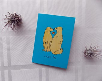 Greeting Card Cute Dogs Heart I Like You Illustration 5x4.5