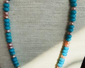 Handmade blueMagnesite and rose blush freshwater pearls.  Free UK P & P.