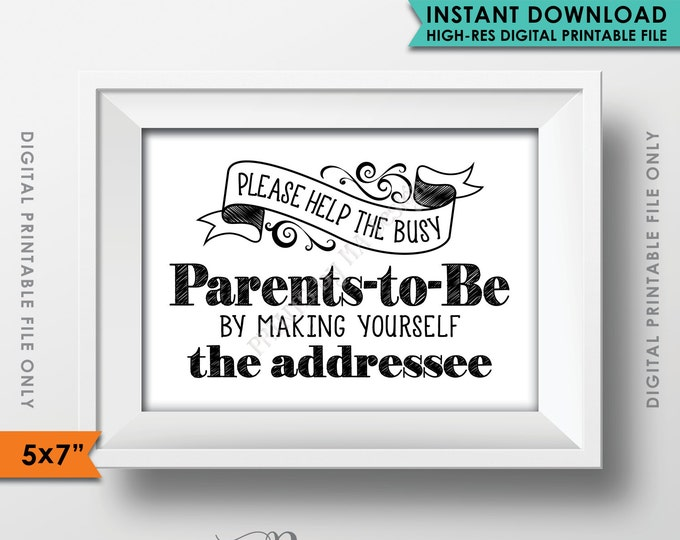 """Baby Shower Address Envelope Sign, Help the Busy Parents-tob-be, Baby Shower Decoration, 5x7"""" Instant Download Digital Printable File"""
