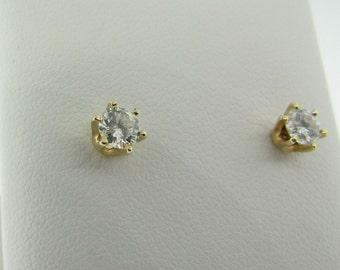 Yellow Gold Diamond Stud Earrings. Screw Backs