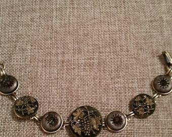 ANTIQUE BUTTON Bracelet PlantLife Grapes Cut Steel 1800s Metal Heirloom Buttons
