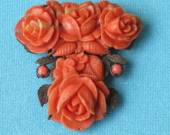Dress Clip Molded Coral Celluloid Floral Intricate Detailed Roses Leaves Glass Accents Brass Setting Japan Vintage 1930's