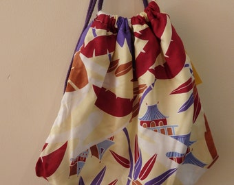 vintage fabric lined drawstring backpack
