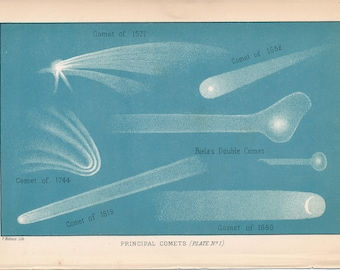 1897 Comets Antique Astronomy Print