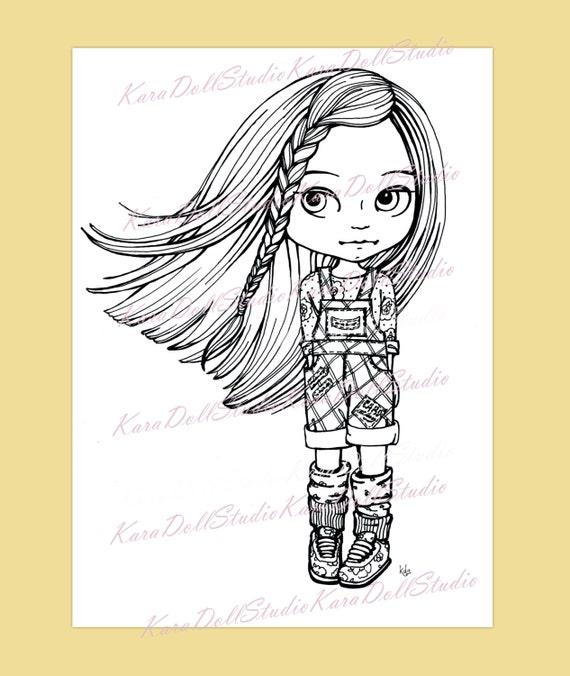 Blythe muñeca para colorear Digital sellos infantiles