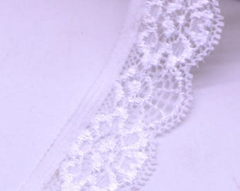 White elastic lace Ribbon by the yard 22 mm