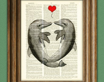 Romantic DOLPHIN LOVERS with hearts altered art dictionary page illustration book print
