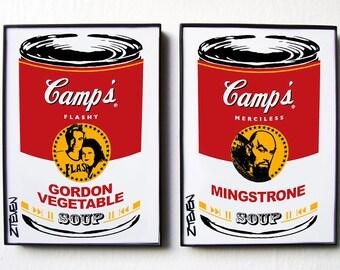 Flash Gordon 1980 Dale and Ming Pop Art Soup, original framed art duo by Zteven