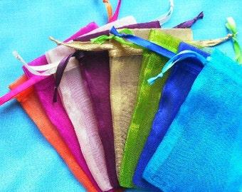 Organza Bags  set of 50 bags 2x3 inch Mix of minimum 8 colors Sachets handmade soap, bath salt, beads, herbs, favor bag, wedding, sample