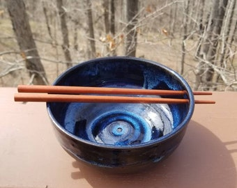Handmade pottery bowl, ramen bowl with chopsticks, prep bowl, soup bowl,  serving bowl, hold 3+ cups, FREE SHIPPING