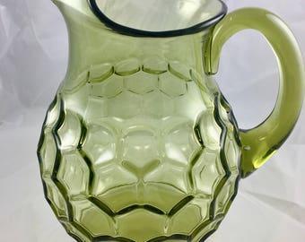 Green Honeycomb glass pitcher
