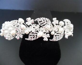 Freshwater Pearl &  Rhinestone Bridal Headpiece, Wedding Headpiece, Bridal Headband Wedding Hair Accessory, Sale, Last Piece