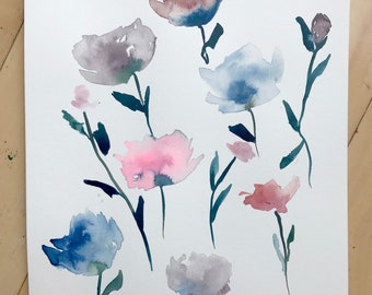 Original Flower Watercolor, Floral Painting, Fine Art Painting, Modern Art, Ink, Minimalist, Garden Floral, Abstract Art, Bohemian