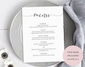 Printable Gray Menu Template - Editable PDF Menu - Charcoal Wedding Menu - Instant Download - 4x6 and 5x7 inch sizes included - #GD1501