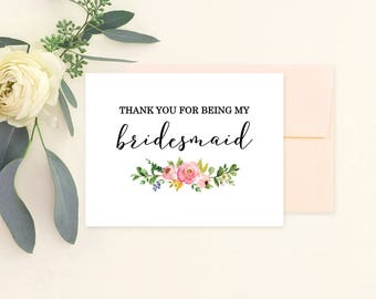 Thank you for being my bridesmaid card, Bridesmaid Thank You Card, Maid of Honor Thank You Card, Flower Girl Thank You Card