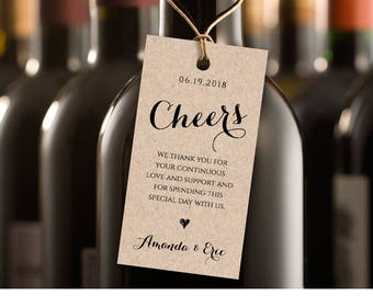 Cheers Wine Tag, Wedding Favor Tag, Wedding Table Wine, DIY Printable Tag, Instant Download, 100% Editable Template, Digital #NC-105FT