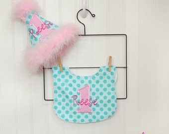Girls First Birthday Party Hat and Bib - Michael Miller Aqua Ta Dot and pinks - Free personalization - 1st birthday girl