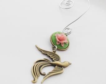 Phoenix Ornament, Bird Ornament, Bird Christmas Ornament, Flower Ornament, Phoenix Ornament, Christmas Tree Ornament