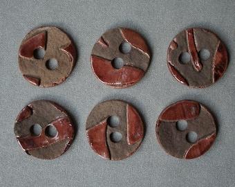 6 ceramic buttons, raku, red, handmade, OOAK