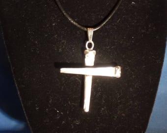 Cross of Nails, cross necklace, cross pendant, silver cross, religious necklace, religious pendant, steel cut nails, steel cut nail pendant