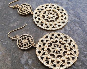 Wanderlust Mandala Filigree Drop Statement Earrings in Gold