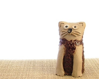 Brown Stoneware Cat Ornament - Cat Sculpture - Clay Animals - Pottery Cat