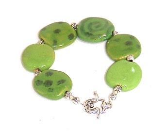 Grass Green Pita Pat Kazuri Beads Bracelet