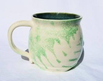pottery fern mug (25 oz) green fern coffee mug - handmade pottery, ceramic coffee mug, pottery teacup
