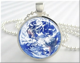 Planet Earth Pendant, Picture Charm, Space Necklace, Resin Charm, Space Jewelry, Big Blue Marble, Earth Photo, Space Gift 283RS