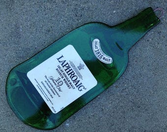 FREE SHIPPING Laphroaig 10 Scotch Whisky Original Ireland version Slumped Melted  Wine Bottle  Spoon Rest Glass Plate Eco Gift Inactive