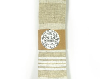 ivory and white screenprinted striped linen necktie - Wedding Mens Tie Skinny Necktie - Laid-Back necktie