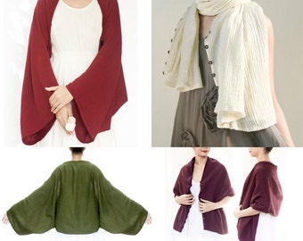 Scarf, Kimono Sleeve Shrug Bolero Jacket with Coconut Shell Buttons, Poncho, Wrap Cape, Plus Size, Free Size, Off White