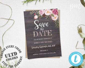 Rustic Floral Save The Date Template, Rustic Save The Date Card, Printable Save The Date, Instant Download, Engagement Template