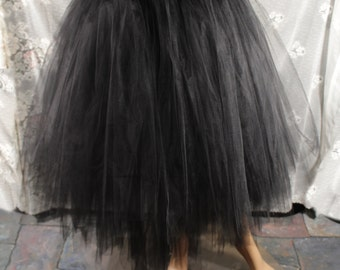 Black Adult tutu Tulle skirt Layered floor length halloween witch poofy bridal wedding petticoat  - You Choose size - Sisters of the Moon