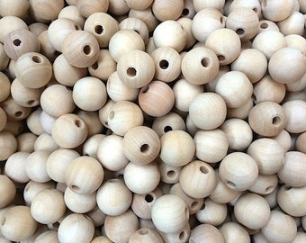 "25 Wooden Beads - 20MM (3/4"") Round Wood Beads, 5/32"" hole - Craft Party Supplies"