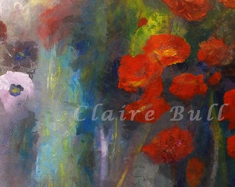 Poppy Garden, Poppies Art Print,Red Flowers Poppy Flower Meadow Flowers,Canadian Wall Art, Painting of flowers Home Decor Giclee Under 100