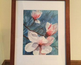 Original watercolor of Magnolia blossoms